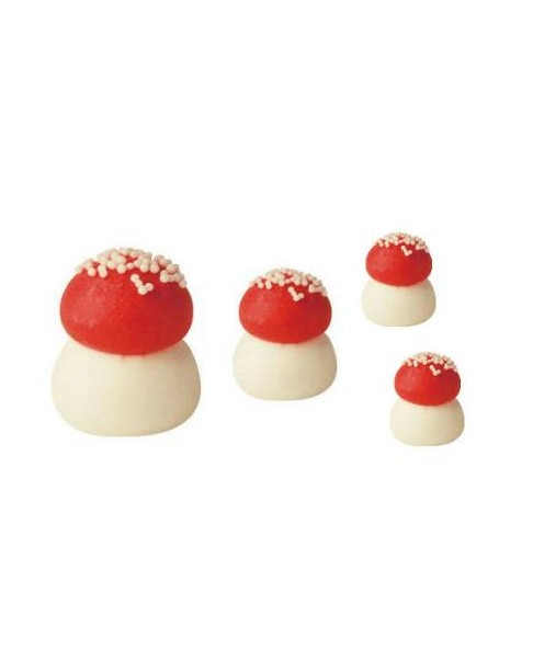Lot de 4 champignons sucre rouge