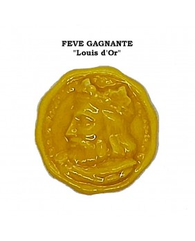 "Set of 5 winning fèves numbered ""Louis golden coins"""