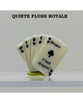 "Set of 5 winning fèves numbered ""the royal flush quinte"""