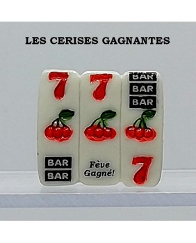 "Set of 5 winning fèves numbered ""the winning cherries"""