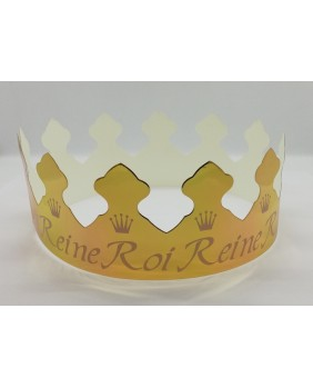 Box of 100 gold motif king and queen crowns
