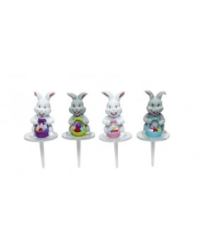 Set of 4 rabbits and their baskets