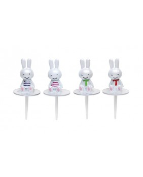 Set of 4 easter pearly rabbits