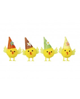 Set of 4 Easter chicks with pointed hats