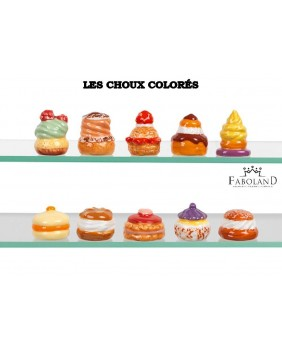 Colored choux buns