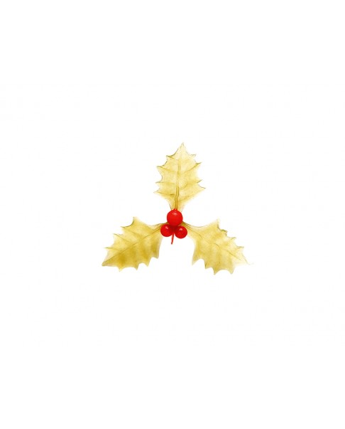Triple red and gold holly leaves x4