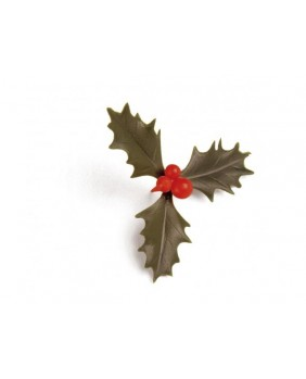 Triple green holly leaves x6