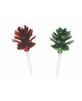 Box of 100 green and red fir cones
