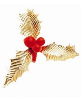 Box of 100 triple red and gold holly leaves