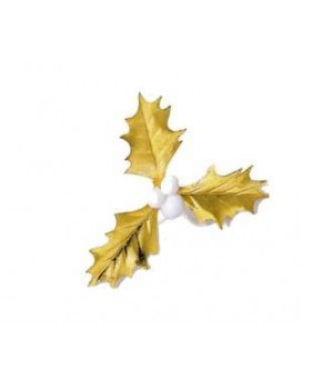 Box of 100 triple white and gold holly leaves