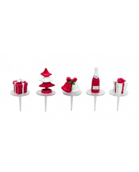 Red and white christmas deco x5