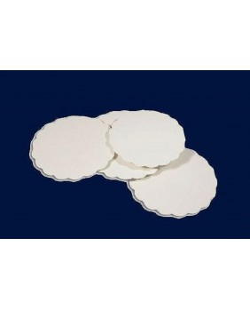 Pack of 250 white scalloped round - diameter 23cm
